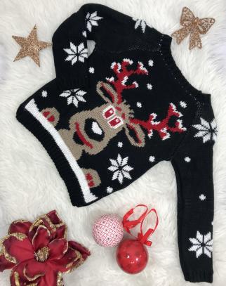 Świąteczny sweterek reniferek- kolor czarny