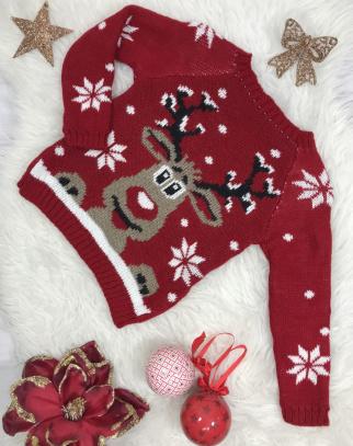 Świąteczny sweterek reniferek- kolor czerwony