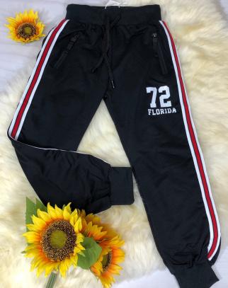 Spodnie dresowe 72 z lampasem - czarny