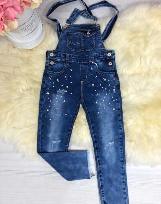 Ogrodniczki Jeans z perełkami
