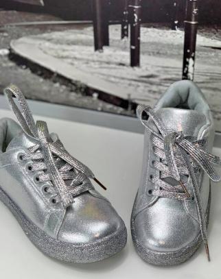 Metaliczne Trampki Buciki - Srebrny
