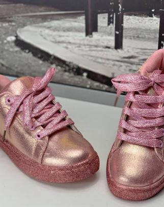 Metaliczne Trampki Buciki - Różowy