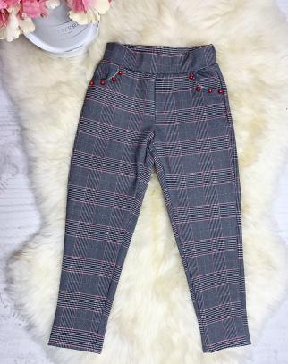 Spodnie wiosenne w modną kratę - akcent czerwony