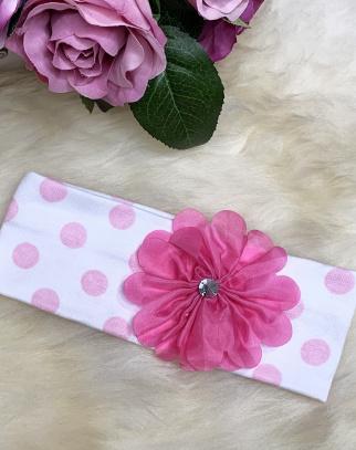 Wiosenna opaska w groszki różowe  - kwiatuszek
