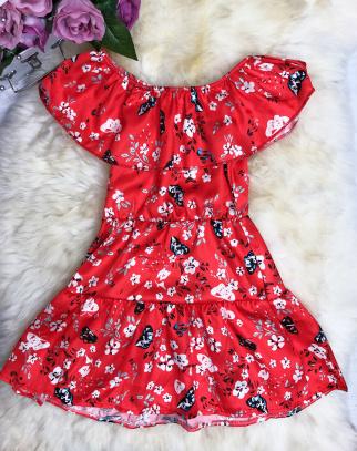 Sukienka Hiszpanka Flowers - czerwony