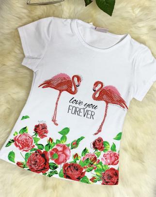 Bluzka Fowers&Flamingos - kolor biały