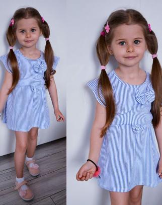 Urocza sukienka Pasiak Kokardka - niebieski