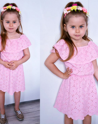 Sukienka hiszpanka BOHO LUX - różowy