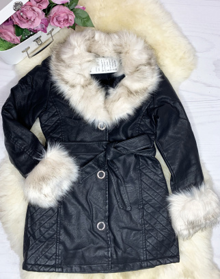 Płaszcz Black Fame z ekoskórki - HIT - z futerkiem