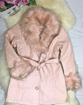 Płaszcz Pink Fame z ekoskórki - HIT - z futerkiem