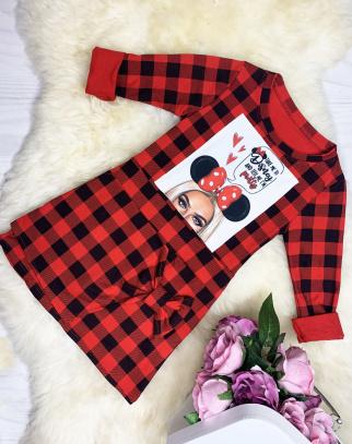 Sukienka/Tunika kratka z modnym naszyciem - Czerwony