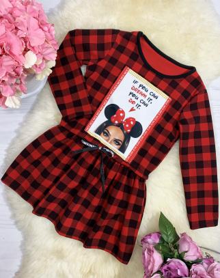 Sukienka kratka z aplikacją - kolor czerwony