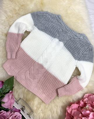 Sweterek w paski 3 kolory