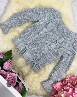 Sweterek Glamour Wiązania - Szary