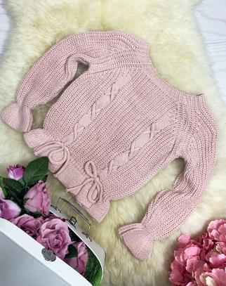 Sweterek Glamour Wiązania - Różowy