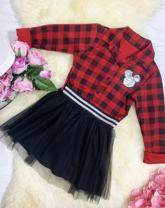 Sukienka Kratka z tiulem - czerwony