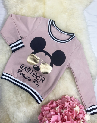 Bluza Mickey Sunglasses - Pudrowa