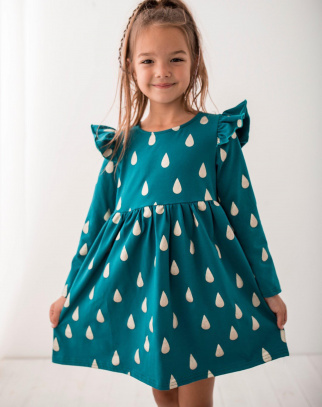 Premium Bawełna Sukienka Szmaragd Kropelki