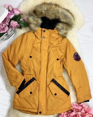 Kurtka/Parka zimowa BOY - kolor musztardowy