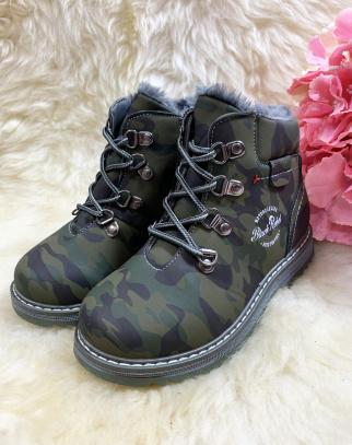 Traperki chłopięce zimowe - military