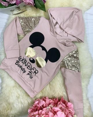 Bluza Mickey Sunglasses z kapturem - Pudrowy