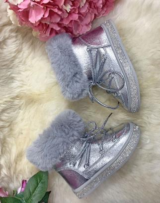 Śniegowce Botki metaliczne - srebrny