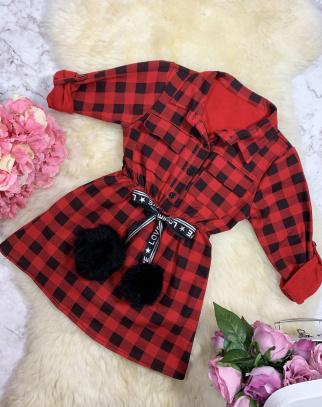 Sukienka/Tunika Krata Czerwona - extra pompony