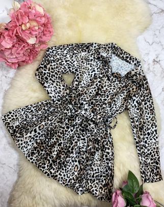 Piękna Sukienka Premium Panterka Koszulowa