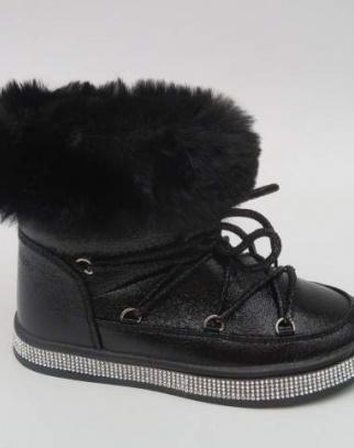 Śniegowce Botki metaliczne - czarny