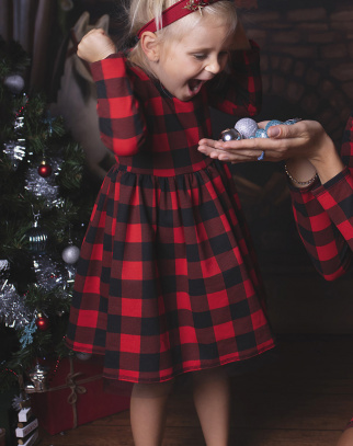Sukienka w kratkę z kokardą - Christmas Collection