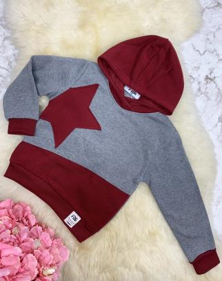 Ocieplana bluza Star - szary + bordo