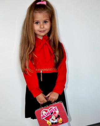 Sukienka Elegance Kokardka - kolor czerwony+czarny