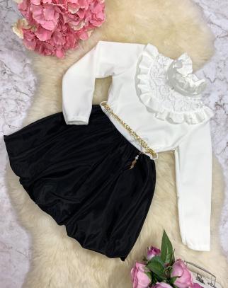 Sukienka Gabrielle - kolor biały+czarny