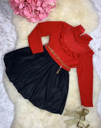 Sukienka Gabrielle - kolor czerwony+czarny