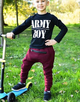 Spodnie Baggy kieszonka - kolor bordowy HIT