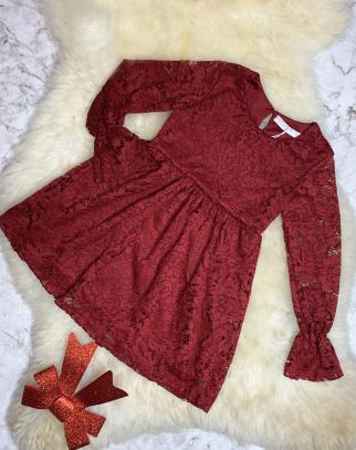 Piękna koronkowa sukienka - kolor bordowy