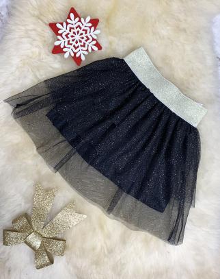 Spódniczka tiulowa z drobinkami - czarny