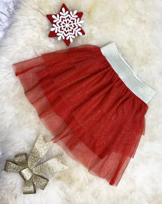 Spódniczka tiulowa z drobinkami - czerwony