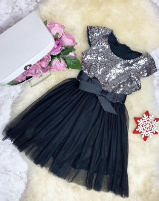 Sukienka Cekinek z tiulem - Srebrny