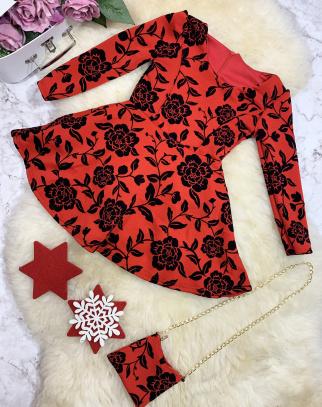 Sukienka Roses z torebką - Czerwony