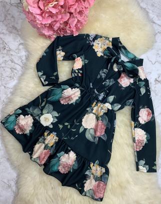 Sukienka z kokardką w kwiaty - czarny