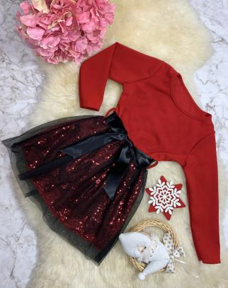Sukienka Babi Duo - Cekiny + Tiul - Czerwony