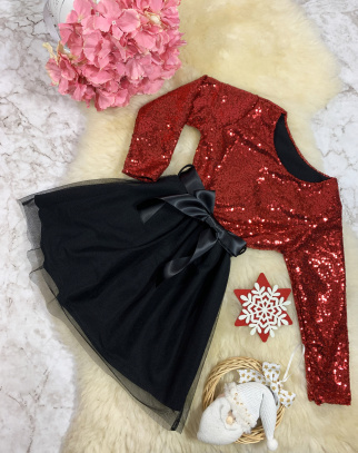 Sukienka Cekinek II z tiulem - Czerwony