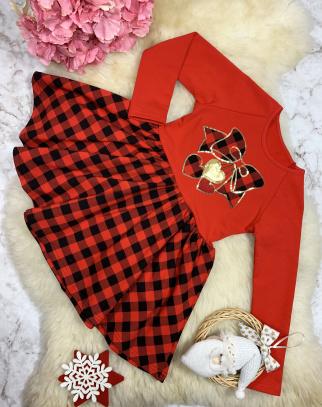 Sukienka w kratkę z aplikacją - Christmas Collection