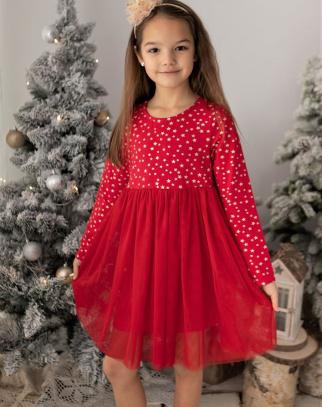 Premium Bawełna Sukienka Stars - Czerwony