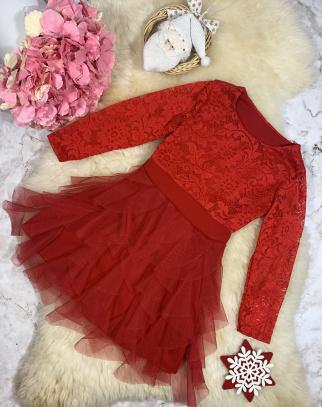 Sukienka Livia Koronka + Tiul - czerwień