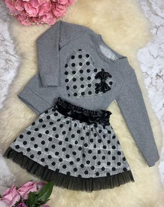 Komplet Adeline Grey Bluza + Spódniczka