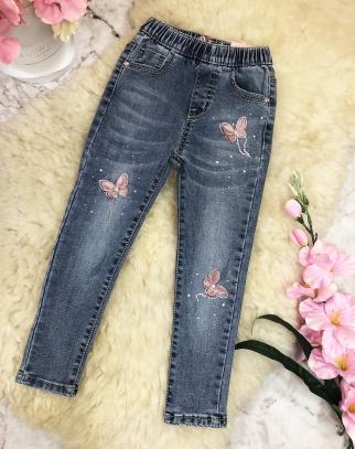 Tregginsy jeansowe Motylki