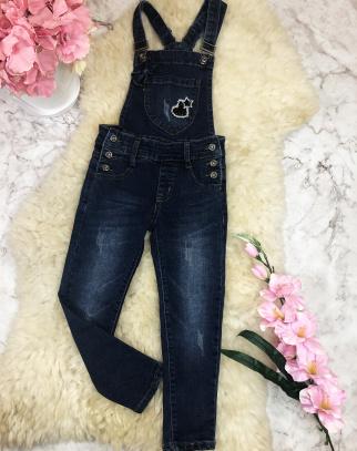 Ogrodniczki Spodnie Jeans 2w1 z kokardką