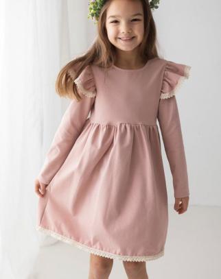 Premium Bawełna Sukienka Boho Pudrowy Róż z Koronką